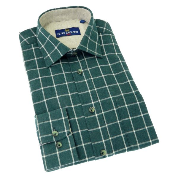 Peter England - Mens Brushed Cotton Shirt in Forest Green Windowpane Check