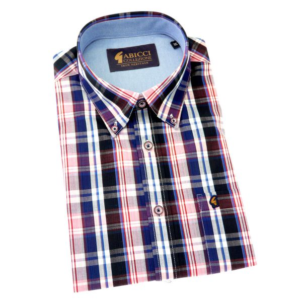 Gabicci - Mens Short Sleeve Cotton Shirt in Red and Blue Check - Button Down Collar