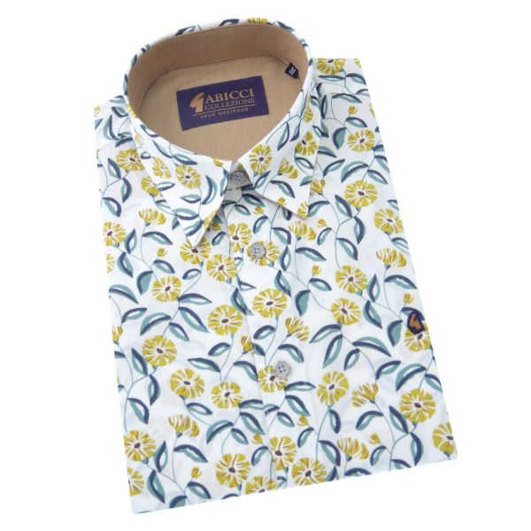 Gabicci-Mens Short Sleeve Cotton Shirt with Mustard Flower Design