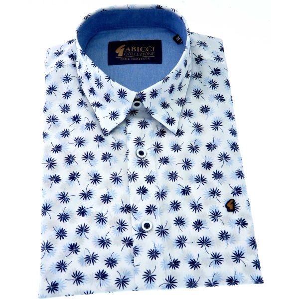 Gabicci - Mens Short Sleeve Cotton Shirt in Ice Blue Design