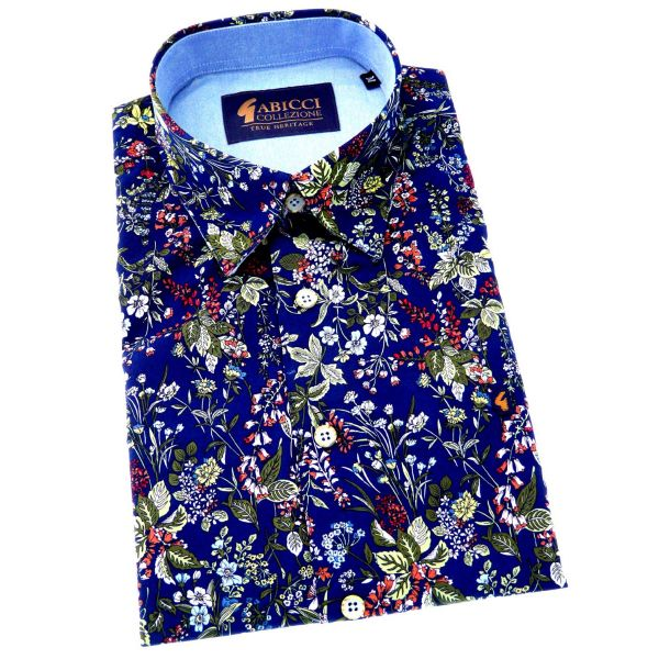 Gabicci - Mens Short Sleeve Cotton Shirt in Navy with Summer Flowers Design