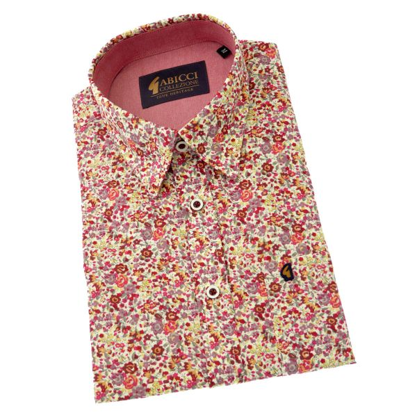Gabicci - Mens Short Sleeve Cotton Shirt in Pink Floral Design