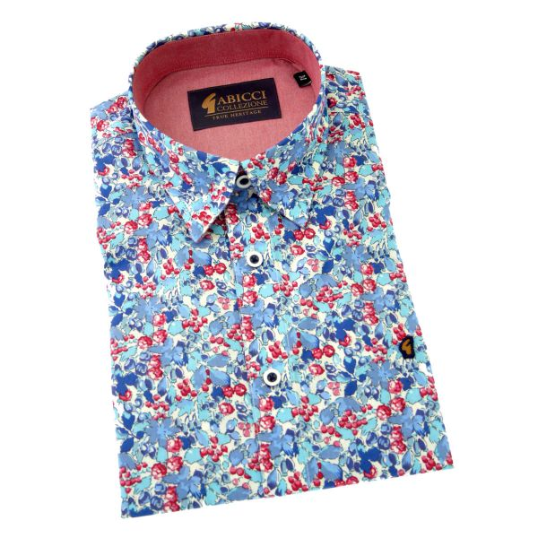 Gabicci - Mens Short Sleeve Cotton Shirt in Blue and Red Floral Design