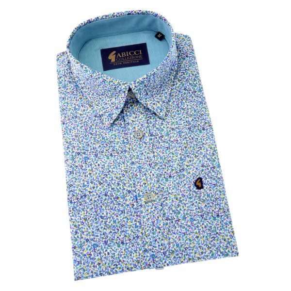 Gabicci - Short Sleeve Cotton Shirt in Light Blue Ditsy Design