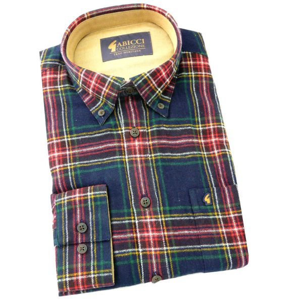 Gabicci - Mens Long Sleeve Brushed Cotton Tartan Shirt with Button Collar