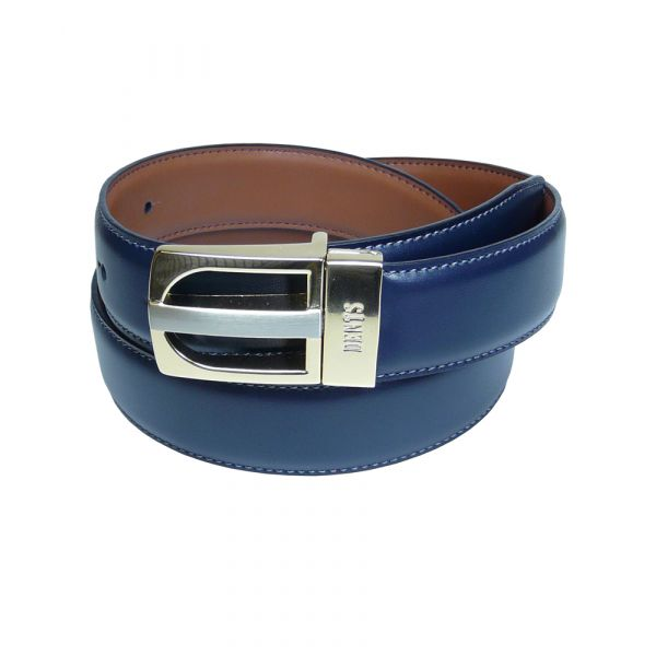 Navy and Tan Reversible Leather Belt from Dents