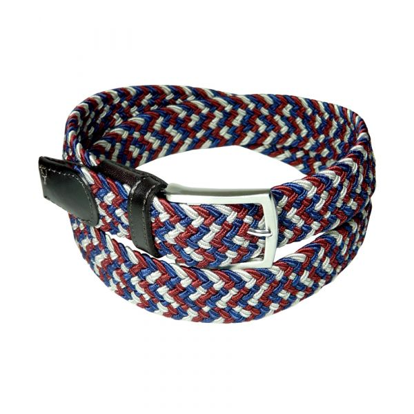 Wine Navy and Putty Elasticated Webbing Belt