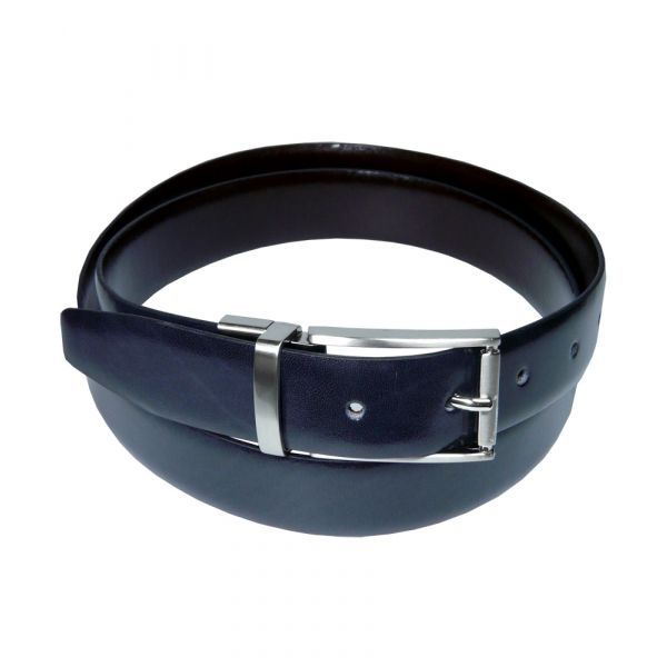 Black and Dark Brown Reversible Leather Belt with Chrome Buckle