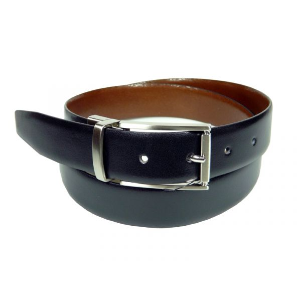 Ibex of England Mens Reversible Belt in Tan and Black Leather