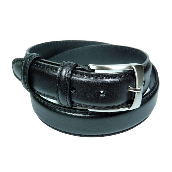Ibex of England Mens Stiched Full Grain Leather Belt in Black