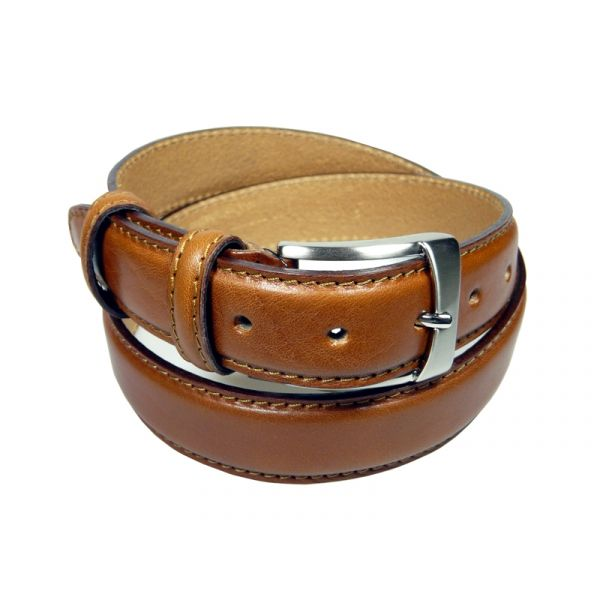 Ibex of England Mens Stiched Full Grain Leather Belt in Tan