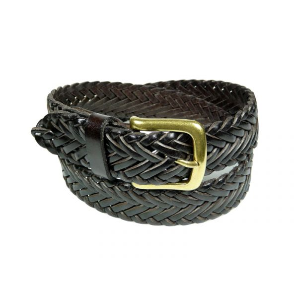 Ibex of England Mens Plaited Leather Belt in Dark Brown