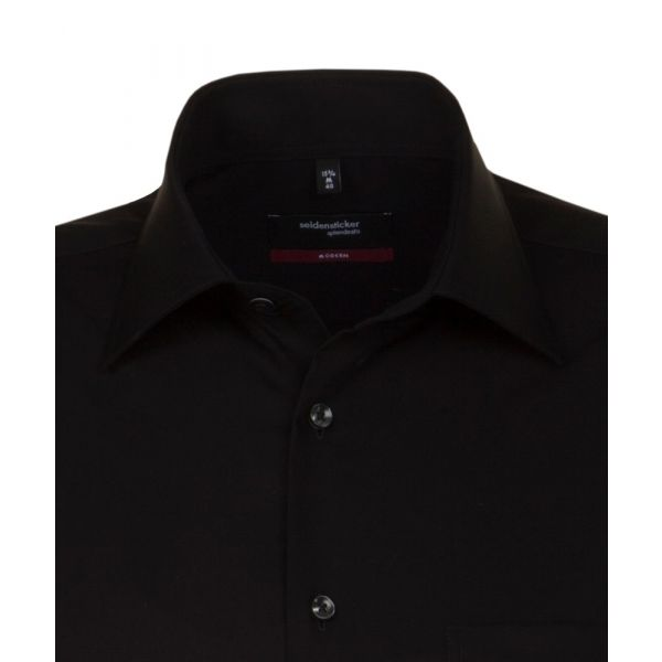 Black Cotton Shirt. Modern Fit from Seidensticker