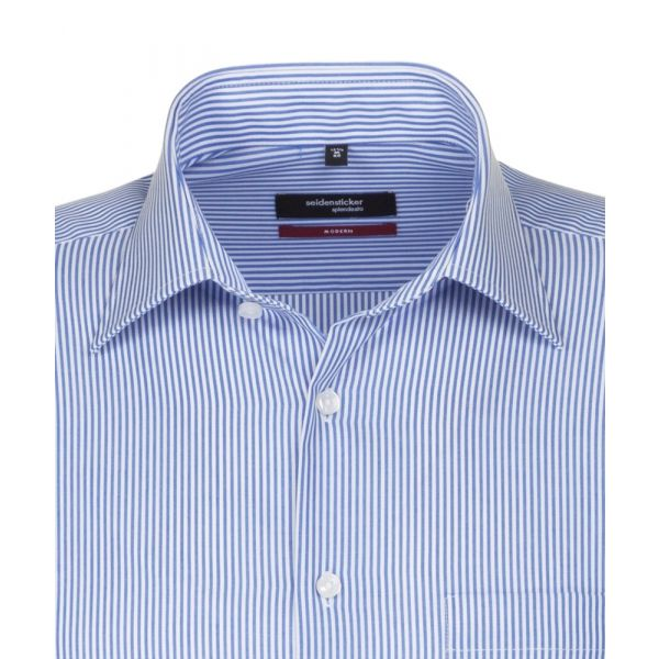 Blue and White Stripe Cotton Shirt. Modern Fit from Seidensticker