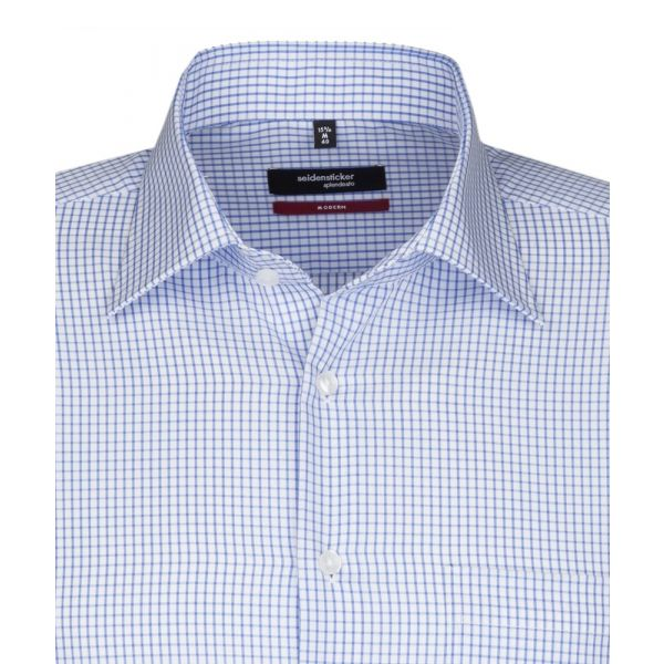 Blue and White Check Cotton Shirt. Modern Fit from Seidensticker