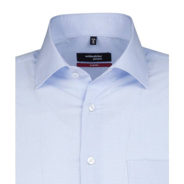 Light Blue Check Cotton Shirt. Modern Fit from Seidensticker
