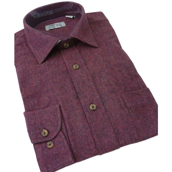 Mens Brushed Cotton Blend Shirt from Peter England in Red