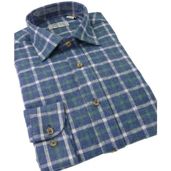 Mens Brushed Cotton Blend Shirt from Peter England in a Navy Square Check Design