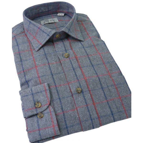 Mens Brushed Cotton Blend Shirt from Peter England in Grey Tattersall Check
