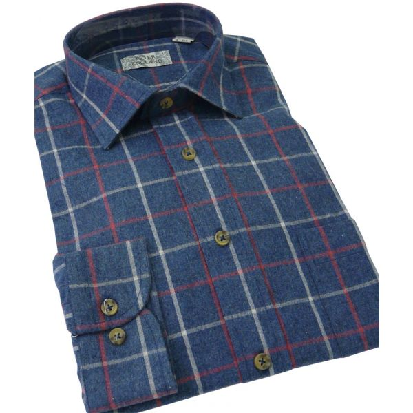 Mens Brushed Cotton Blend Shirt from Peter England in Navy Tattersall Check