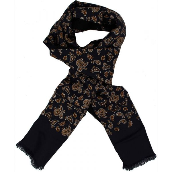 Mens Silk Scarf in Black Paisley Design - Wool Backed