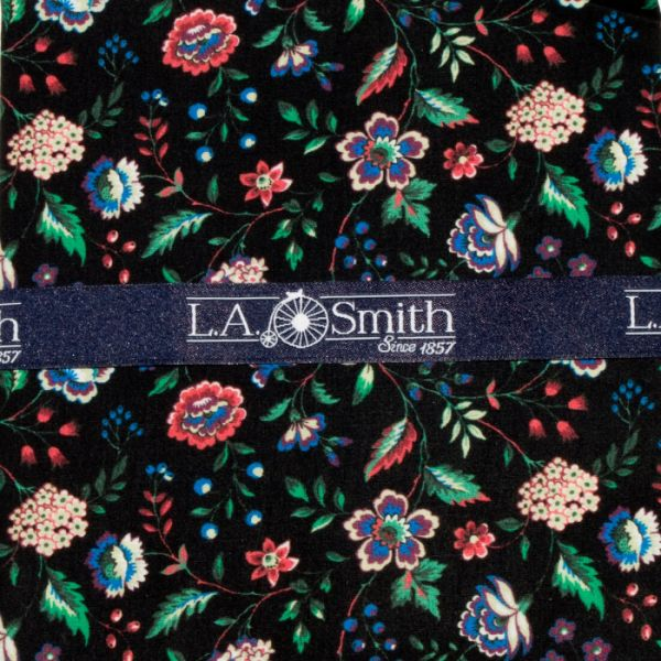 Liberty Print 'Rousseau' Design in Black Cotton Hankie
