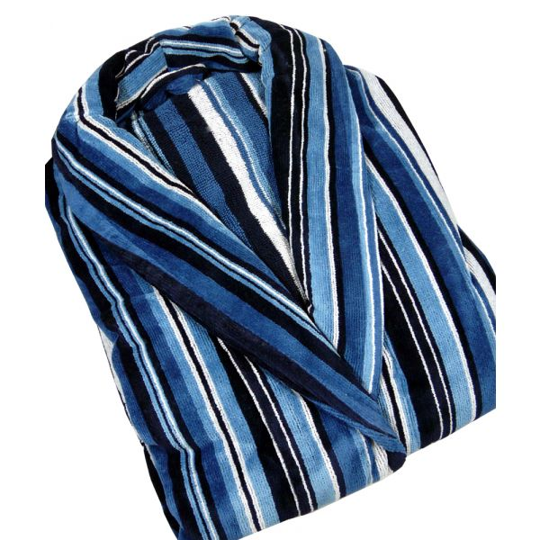 Mixed Blue Stripe Boys Velour Dressing Gown