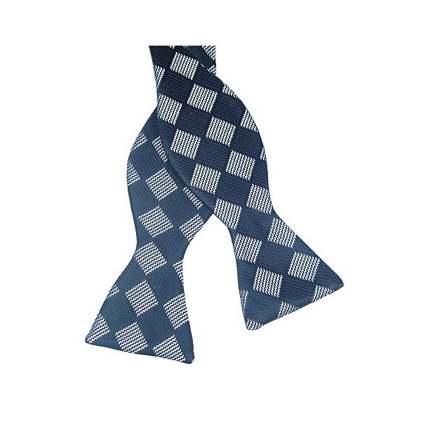 Black and Grey Check Silk Bow Tie