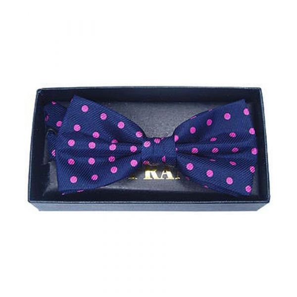 Navy and Pink Dots Silk Bow Tie