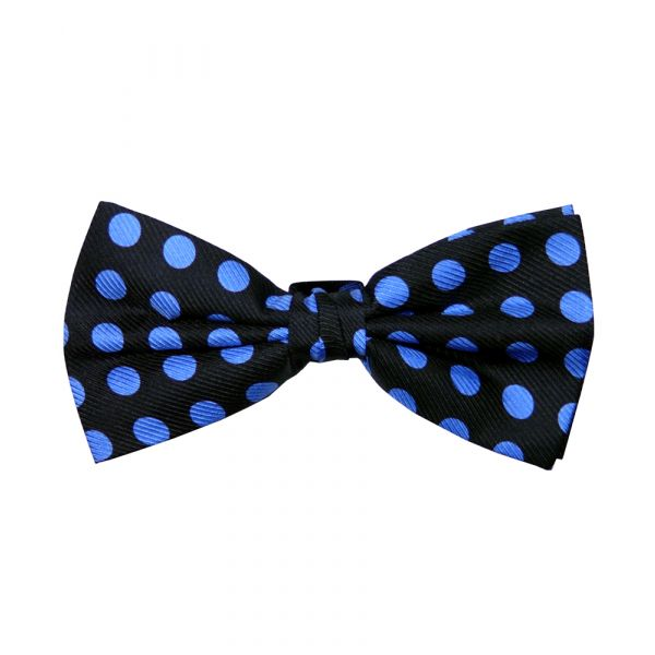 Navy and Royal Blue Spotted Silk Bow Tie