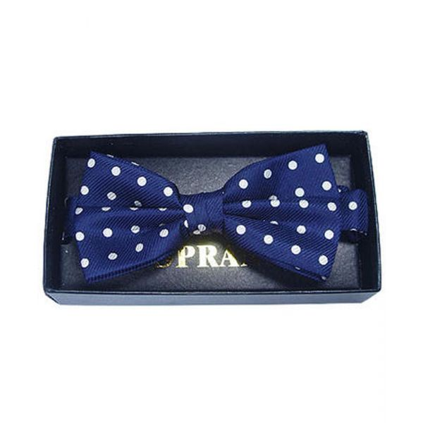 Navy with White Dots Silk Bow Tie