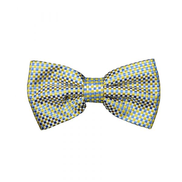 Yellow Blue Check Silk Bow Tie