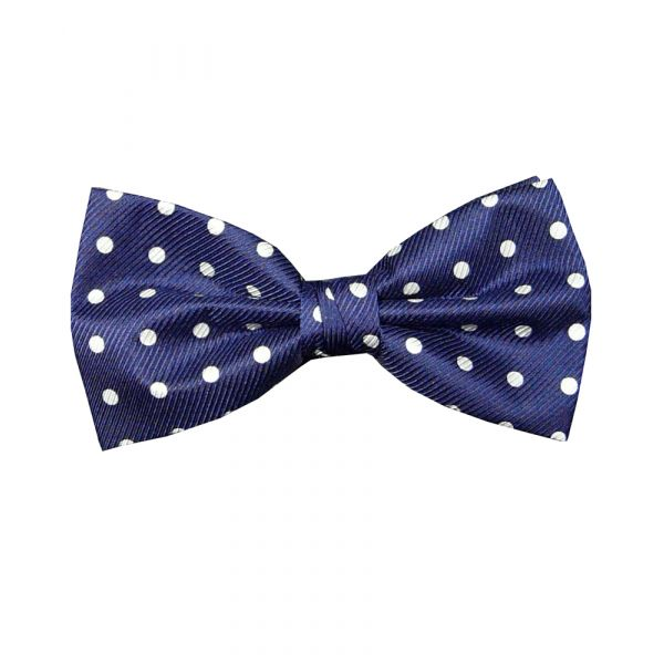 Navy Polka Dot Silk Bow Tie from Hunt & Holditch