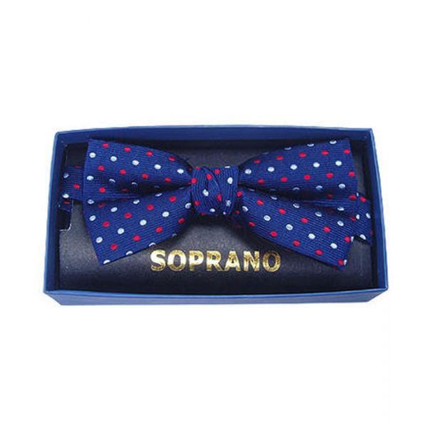 Navy with Red White Dots Silk Bow Tie