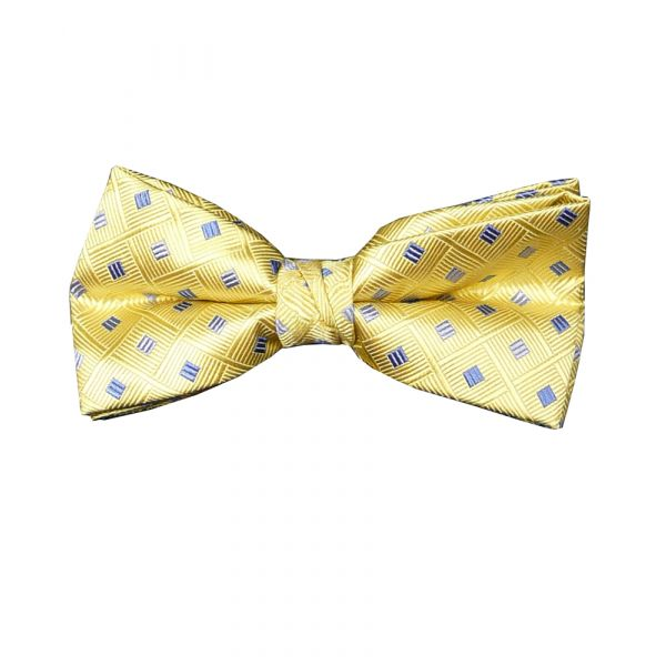 Lemon Blue Squares Silk Bow Tie