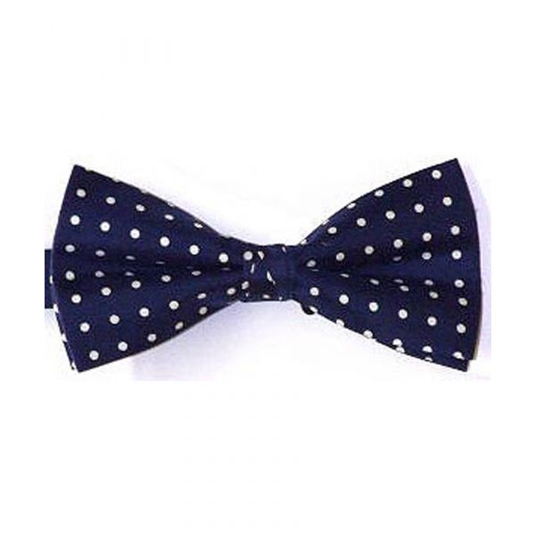 Navy Silk Bow Tie With White Polka Dots