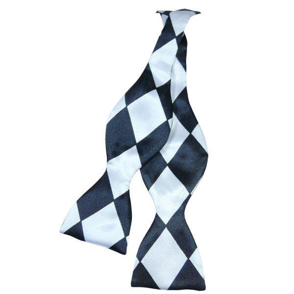 Black and White Harlequin Self Tie Bow Tie from Van Buck