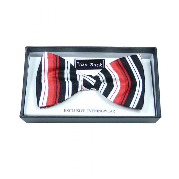 Red Black White Stripe Pre Tied Bow tie from Van Buck