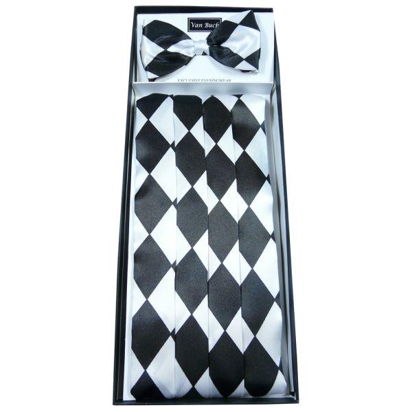 Black and White Harlequin Cummerbund and Bow Tie Set