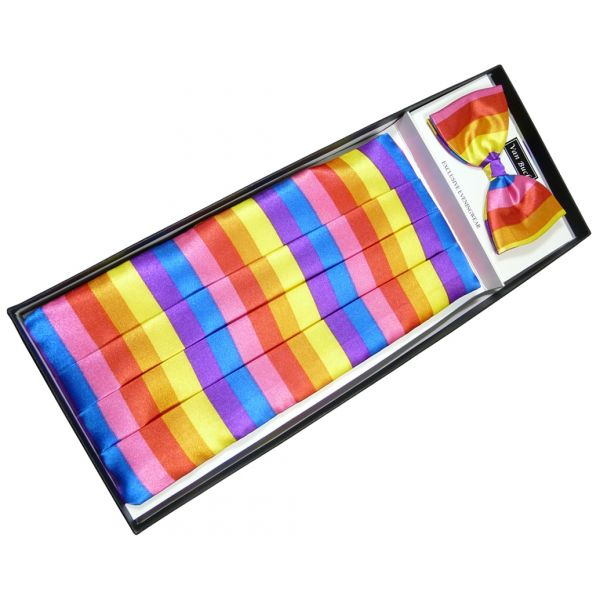 Rainbow Stripe Cummerbund and Bow Tie Set