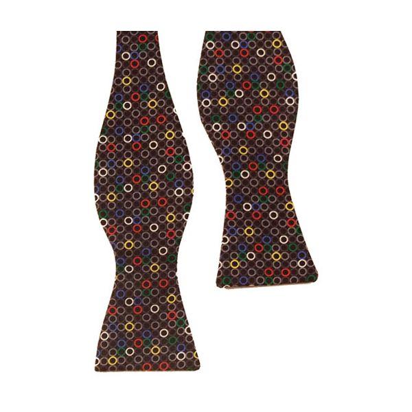 Black and Grey Multi Rings Silk Self Tie             Bow Tie