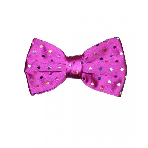 Pink Multi Spotted Pre Tied Bow Tie
