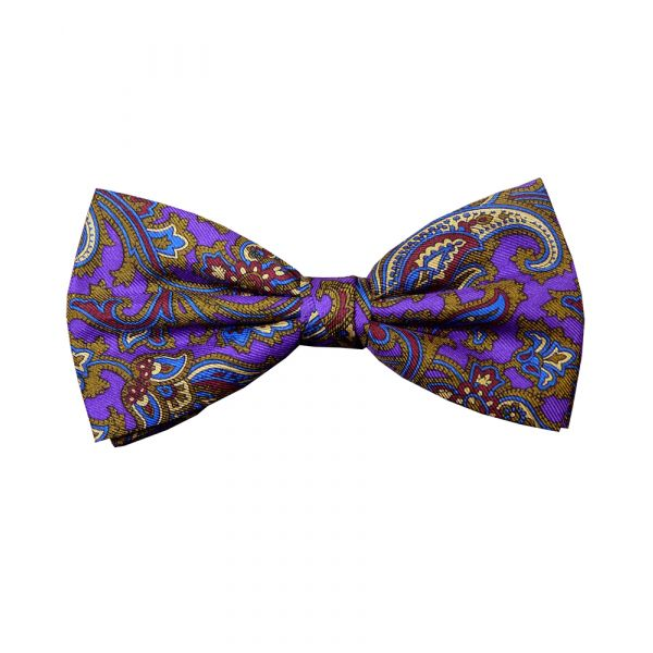 Purple Patterned Silk Bow Tie