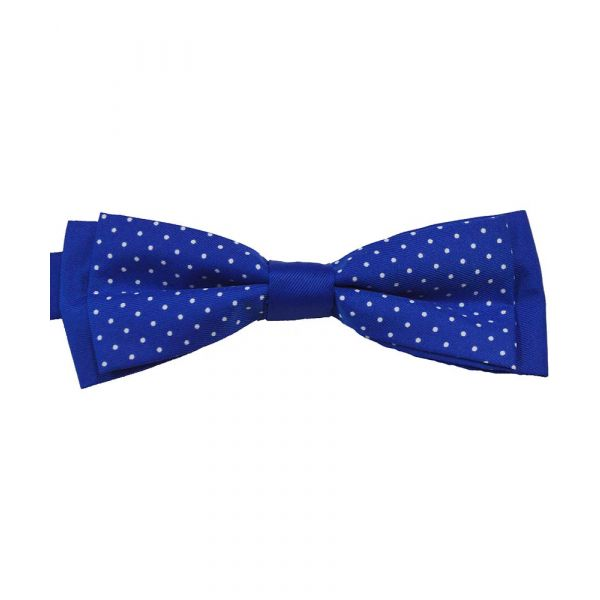 Blue and White Spot Skinny Ready Tied Bow Tie