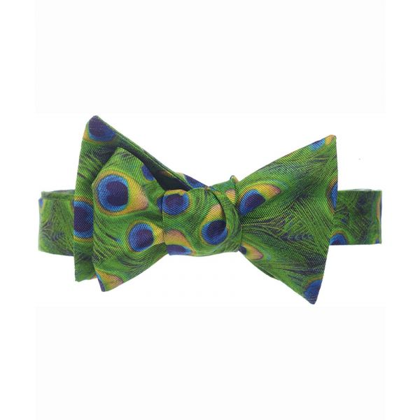 Peacock Feathers Silk Bow Tie from Fox & Chave