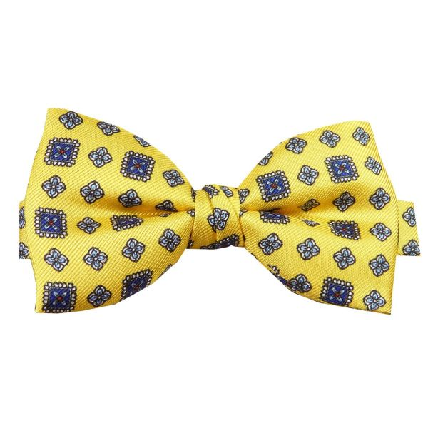 Pre Tied Silk Bow Tie in Bright Yellow Design from Hunt and Holditch