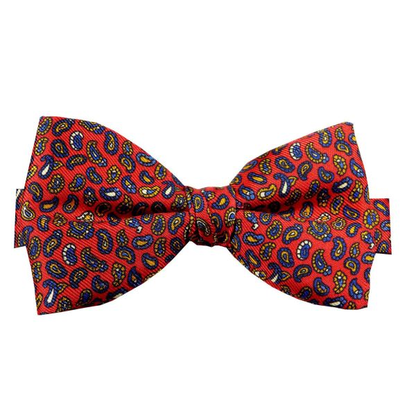 Pre Tied Silk Bow Tie in Red with Tiny Paisley Design from Hunt and Holditch