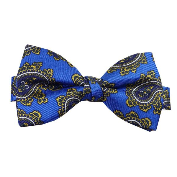 Pre Tied Silk Bow Tie in Bold Paisley Design from Hunt and Holditch