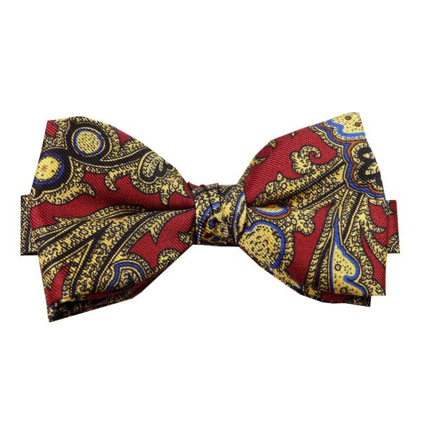 Pre Tied Silk Bow Tie in Wine and Antique Gold from Hunt and Holditch