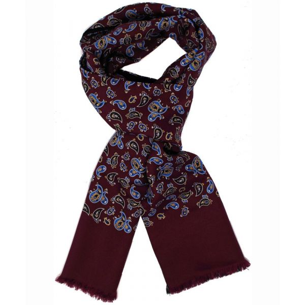 Mens Silk Scarf in Burgundy Paisley Design - Wool Backed